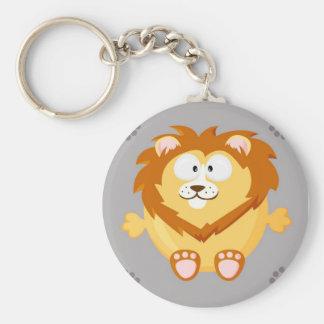 Cute circle lion basic round button key ring