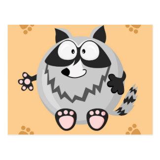Cute circle raccoon postcard