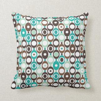 Cute circle retro pattern blue design throw cushions
