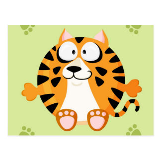 Cute circle tiger postcard