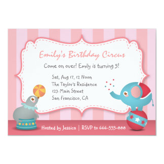 Cute Circus Animals Theme Birthday Party, for Kids 11 Cm X 16 Cm Invitation Card