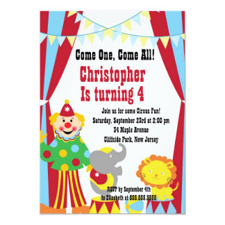 Cute Circus Clown Birthday Party Invitations