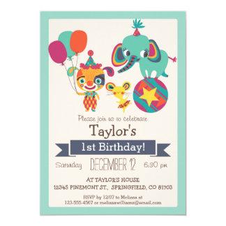 Cute Circus Elephant, Puppy Kid's Birthday Party 13 Cm X 18 Cm Invitation Card