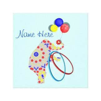 Cute Circus Elephant Red Blue Yellow Nursery Print Stretched Canvas Print