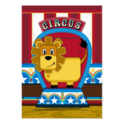 Cute Circus Lion Bookmark Business Card Template