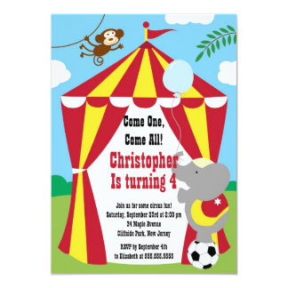 Cute Circus Tent Birthday Party Invitations