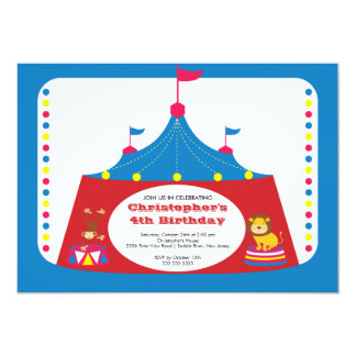 "CUTE Circus Tent Kids Birthday Party Invitation 5"" X 7"" Invitation Card"