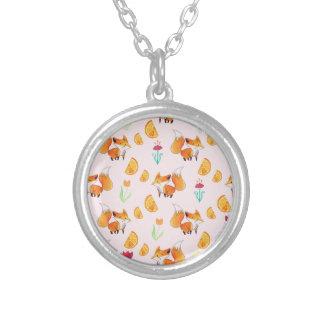 Cute Citrus Fox Pattern Custom Necklace
