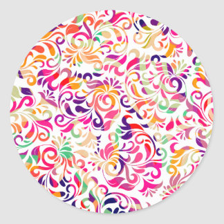 Cute classic colorful flowers pattern classic round sticker
