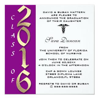 Cute Classic Elegant 2016 Nursing Graduation 13 Cm X 13 Cm Square Invitation Card