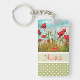 Cute Classic Poppy Flowers Meadow Field Watercolor Key Ring