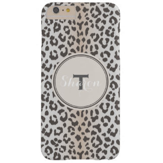 Cute classy brown beige cheetah print monogram barely there iPhone 6 plus case