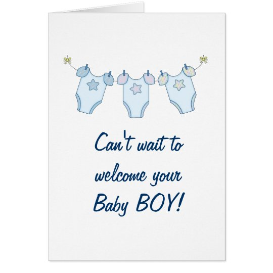 Cute Clothesline Baby Shower Greeting Card - Blue