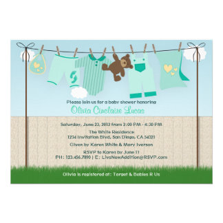 Cute Clothesline Gender Neutral Modern Baby Shower Personalized Invitation