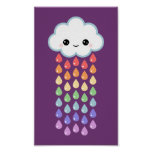 Cute Cloud with Raindrops Poster