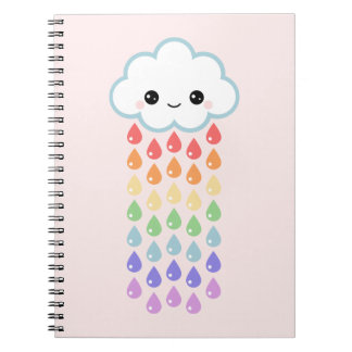Cute Cloud with Raindrops Spiral Notebooks