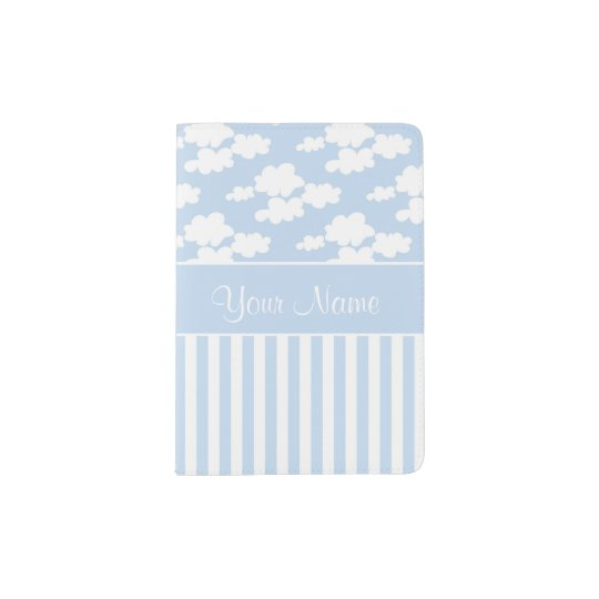 Cute Clouds and Stripes Passport Holder