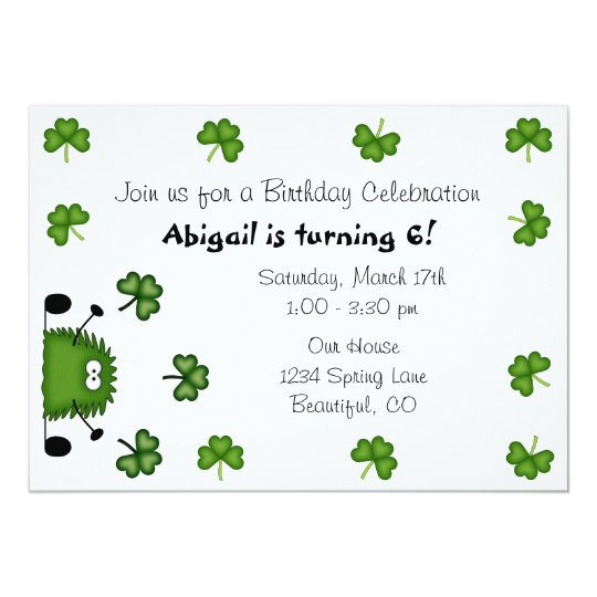 Cute Clovers Irish St Patrick's Day Birthday Card