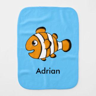 cute clown fish - just add name burp cloth