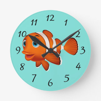 Cute Clown Fish Round Clock