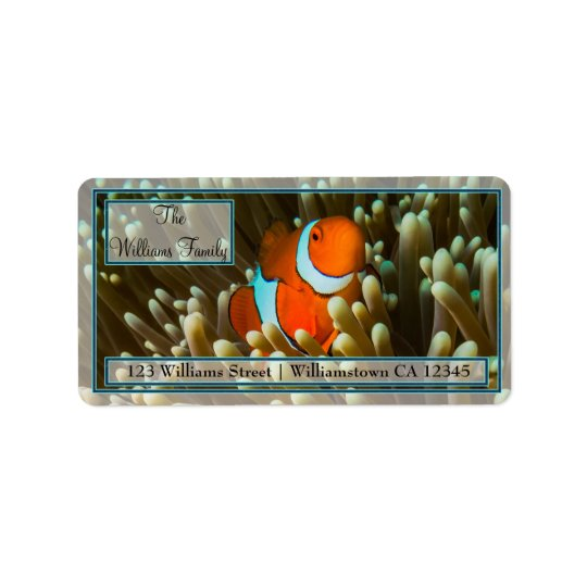 Cute Clownfish Great Barrier Reef Coral Sea Address Label