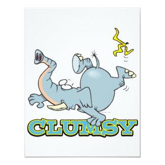 cute clumsy elephant cartoon personalized invitations