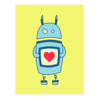 Cute Clumsy Robot With Heart Postcard