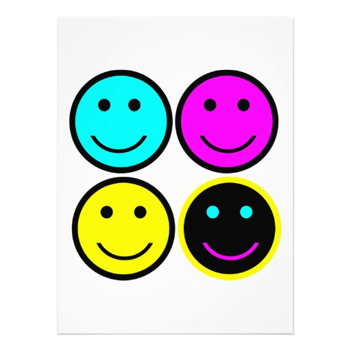 cute cmyk smiley face design personalized invitation