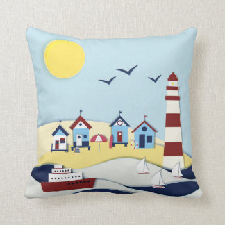 Cute Coastal Scene Cushion