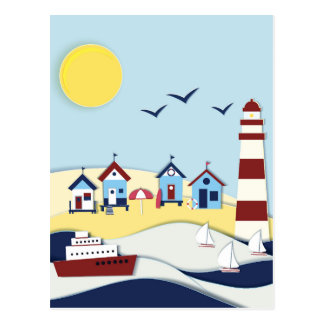 Cute Coastal Scene Postcard