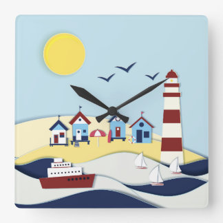 Cute Coastal Scene Square Wall Clock