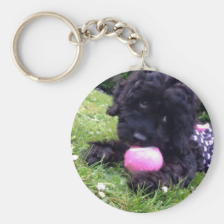 Cute Cockapoo Puppy Round Button Key Ring
