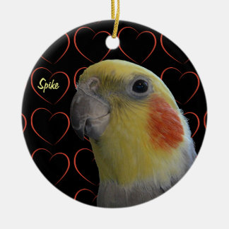 Cute Cockatiel and Hearts Christmas Ornament