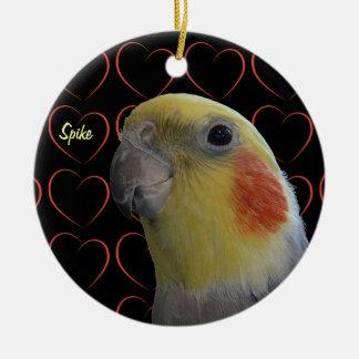 Cute Cockatiel and Hearts Round Ceramic Decoration