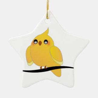 Cute cockatiel on a twig christmas ornament