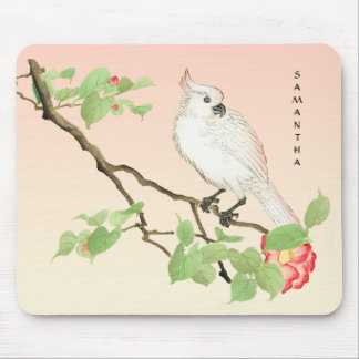 Cute Cockatoo Vintage Japanese Camellia Mousepad