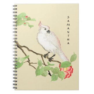 Cute Cockatoo Vintage Pink Camellia Notebook