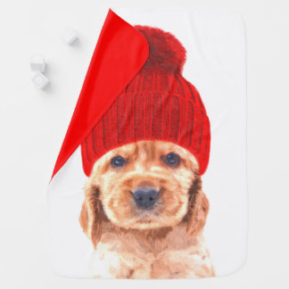 Cute cocker spaniel puppy with cap portrait baby blanket