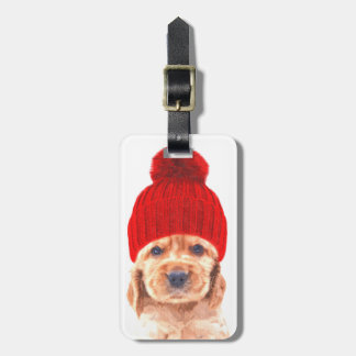 Cute cocker spaniel puppy with cap portrait luggage tag
