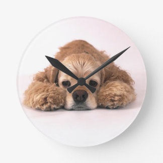 Cute Cocker Spaniel Round Clock