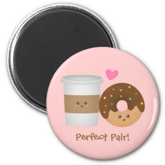 Cute Coffee and Donut in love, Perfect Pair 6 Cm Round Magnet