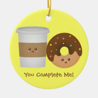 Cute Coffee and Donut in Love, Perfect Pair Christmas Ornament