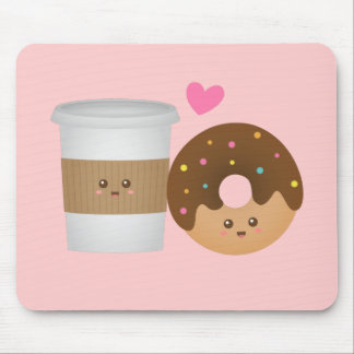 Cute Coffee and Donut in Love, Perfect Pair Mouse Mat
