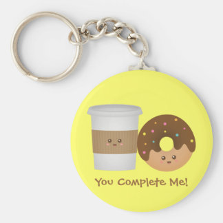 Cute Coffee and Donut, You complete me Key Ring