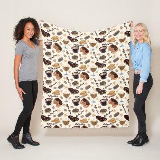 Cute coffee and sweet lovers pattern blanket