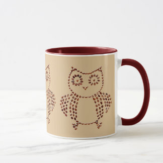 Cute Coffee Bean Owl Drawing Cafe Au Lait