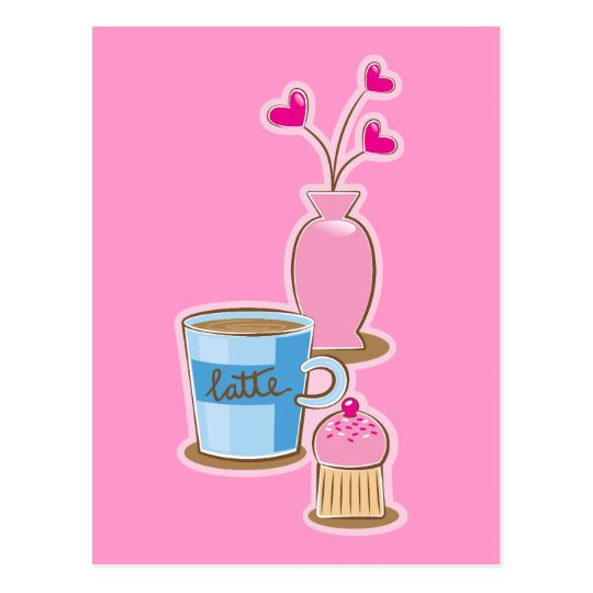 Cute coffee break with latte flowers hearts postcard