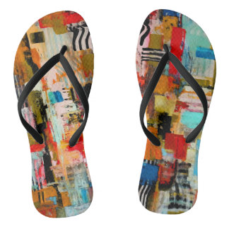 Cute colorful abstract painting flip flops
