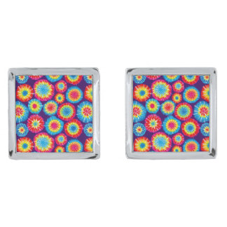 Cute colorful abstract suns patterns silver finish cufflinks
