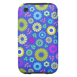 Cute colorful and blue summer flowers iPhone 3 tough cover